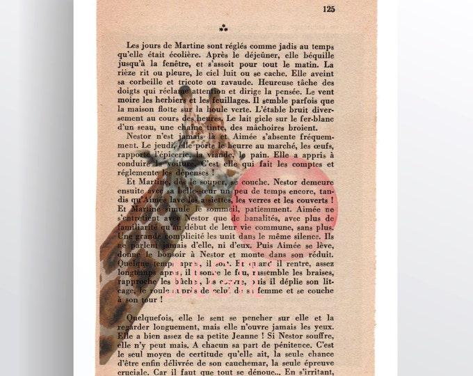 Illustration to frame giraffe making a bubble on old novel