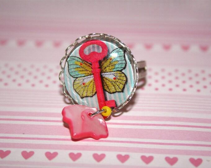 Bague réglable cabochon secret de papillon rayures papillon clé shabby cabochons verre bague réglable
