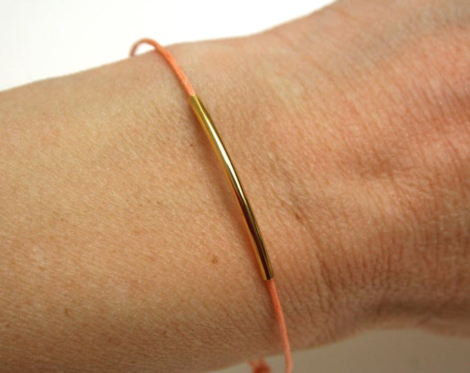 Brass tube bracelet peach woman stacking accumulation