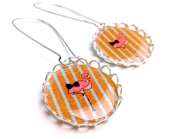 Bow tie on herringbone Flamingo earrings