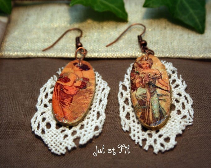 Earrings retro wood lace separated