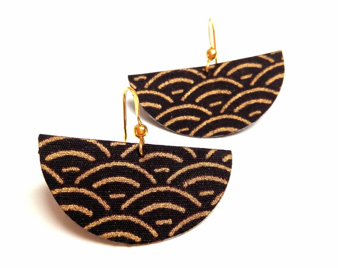 Fabric earrings Japanese seigaiha motif and brass