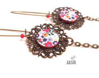 Filigree earrings liberty flower print on canvas