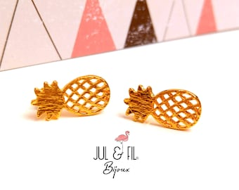 Minimalist brass pineapple studs