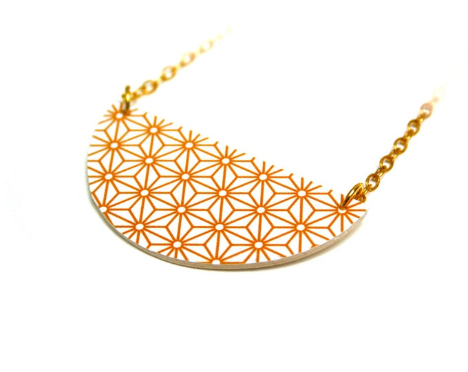 geometric Asanoha mustard yellow leather necklace Japanese stars, Golden brass chain