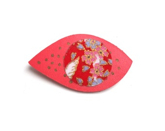Leather brooch and Japanese fabric painted hand teen girl woman