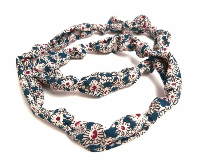 Necklace fabric liberty flowers purple duck blue