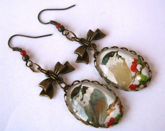 BON PLAN Boucles d'oreilles dissociées Oiseaux cabochons verre petits noeuds bronze antique
