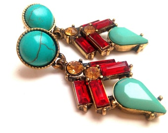 High fashion turquoise and rhinestone earrings