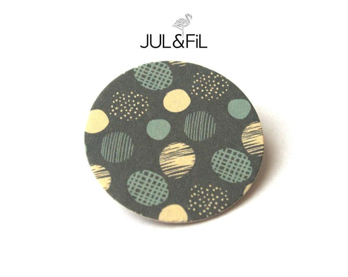Brooch Scandinavian geometric dots Japanese paper blue gray storm graphic