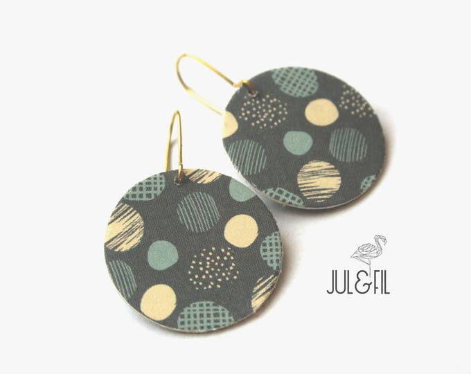 Geometric earrings, graphic, dots, Japanese paper, cardboard, grey, blue