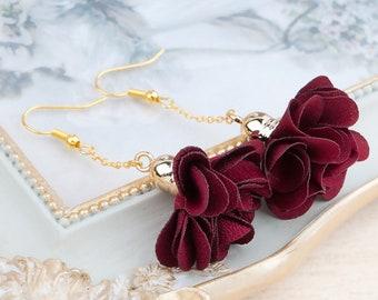 Earrings flower garnet jewel jewel woman