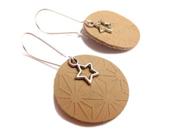 Earrings engraved leather Japanese stars asanoha jul and yarn