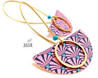 Sleepers brass and textile art deco dark pink swirls