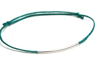 Blue brass bracelet teal graphic tube smooth silver