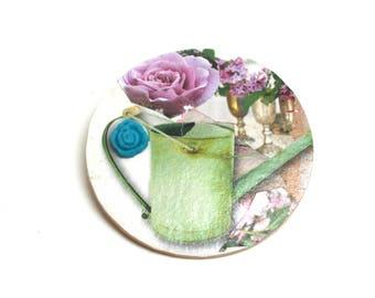 DESTOCKAGE Grande broche en bois bohème Arrosoir vintage fleur turquoise