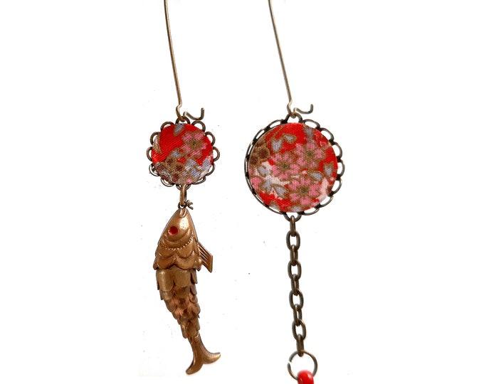 Japanese earrings dissociated from Carpe Koi