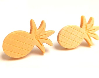 Natural wood pineapple earrings