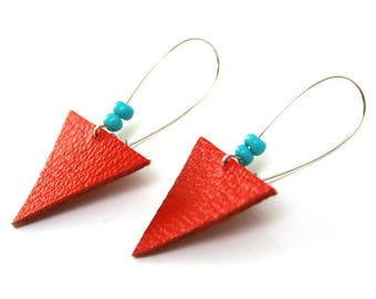 Coral red leather Stud Earrings triangle geometric, contrasting turquoise beads, silver plated brass