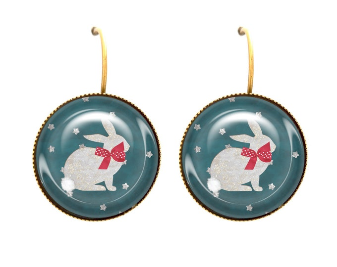 Rabbit cabochon sleepers in JEF stars®