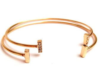Duo of superimposed jonc bracelets BAGUETTES stacking accumulation