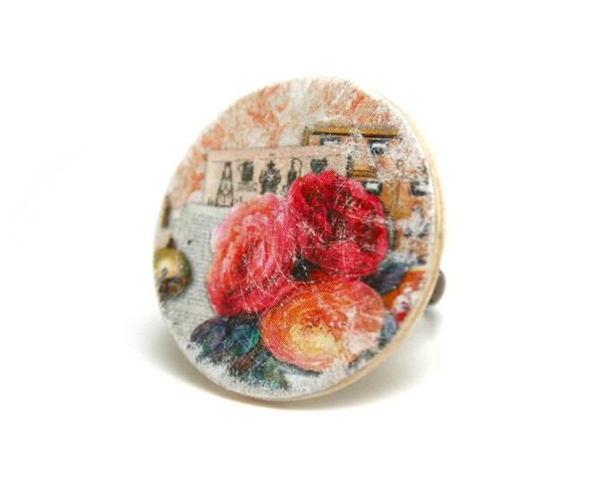 Bague bohème rustique bois cérusé, motif roses et fleurs vintage, métal bronze