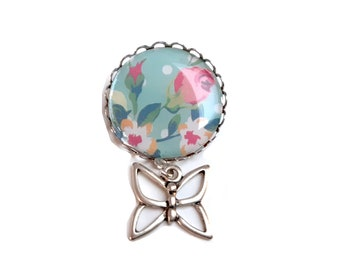 Cabochon flower pastel butterfly women's brooch