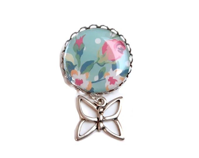 Cabochon flower pastel butterfly women's brooch