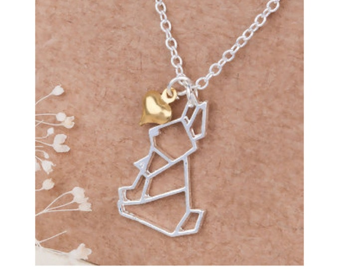Heart rabbit origami necklace
