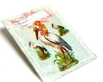 BON PLAN Broche vintage rustique champêtre estampe cigogne vintage sur toile de lin enduite