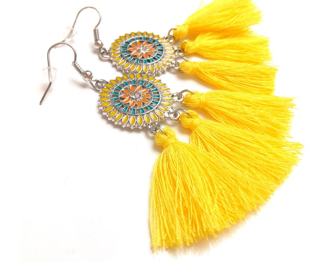 Boho earrings tassel enameled