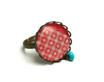 Contemporary geometric cabochon ring stars turquoise coral cabochon glass adjustable ring