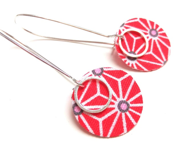 Japanese fabric earrings star asanoha duplex