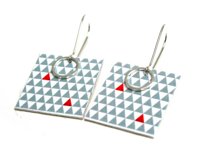 Wood geometric Scandinavian square Triangles green and red on ethical wood stud earrings