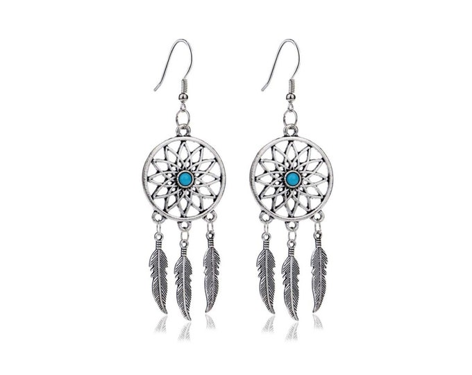 Bohemian pendant earrings catch-dream feathers