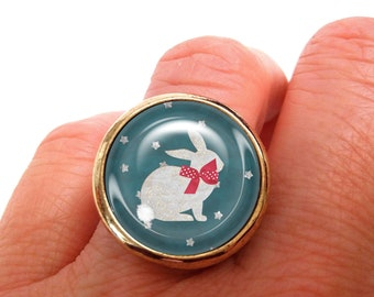 JUL and FIL ring rabbit red knot with polka dots stars