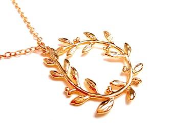 Gold chain necklace filled olive leaf branch 14K