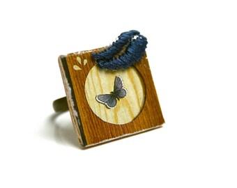 BON PLAN Bague bohème vintage en bois, illustration ancienne papillon et bois vintage, dentelle brodée, réglable métal cuivre