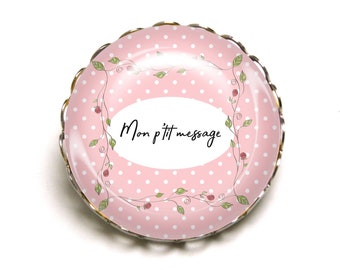 PIN to personalize first name message pink with polka dots JEF ©