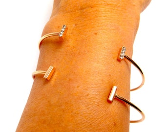 Duo of bracelets superpotable jonc BAGUETTES STRASS