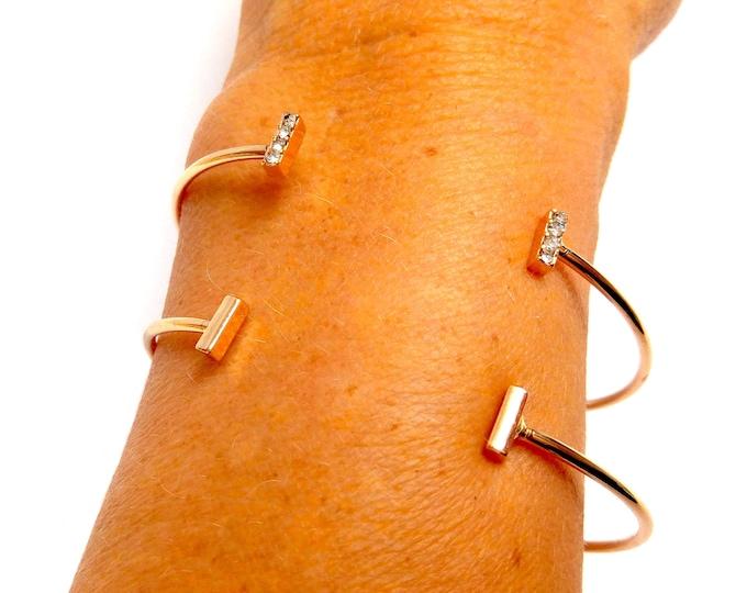 Duo of bracelets superpotable jonc BAGUETTES STRASS