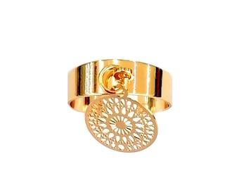Chakra adjustable ring balance, well-being, watermark rosette zen, yoga, mandala