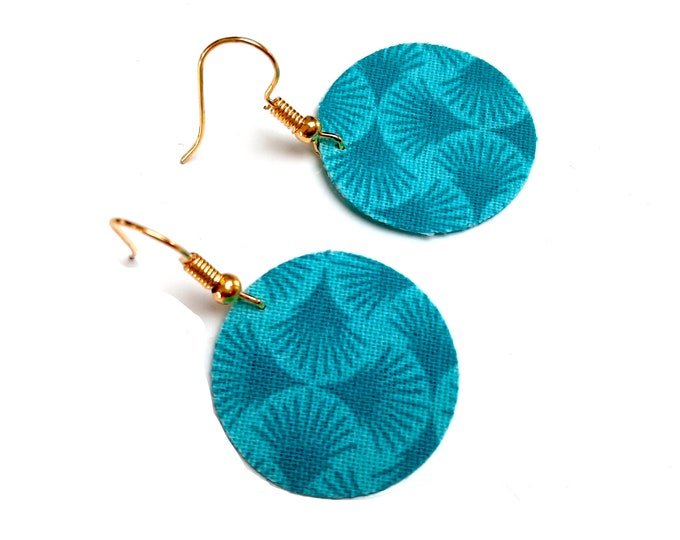Turquoise fan fabric earrings