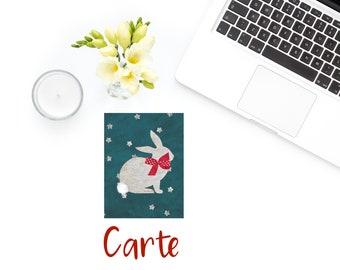 Original postcard rabbit stars polka dots JUL and FIL