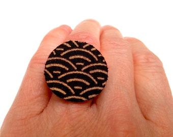 Japanese fabric ring seigaiha black gold