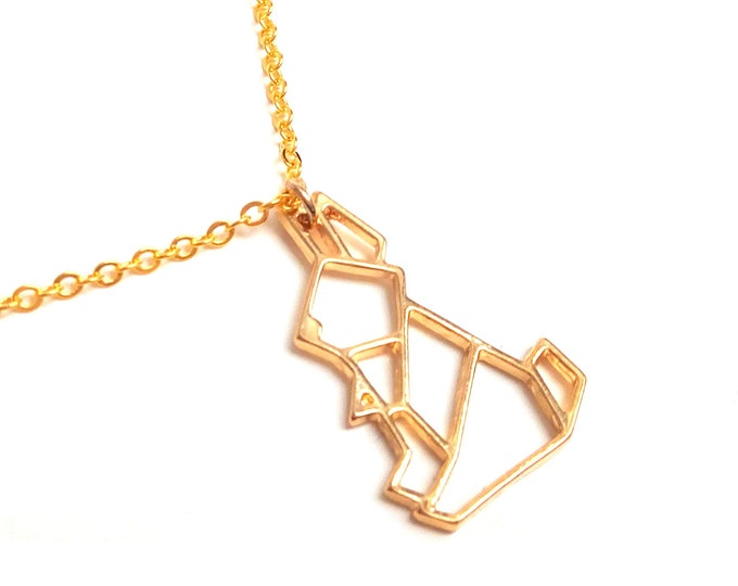 Origami geometric necklace 18K gold plated rabbit