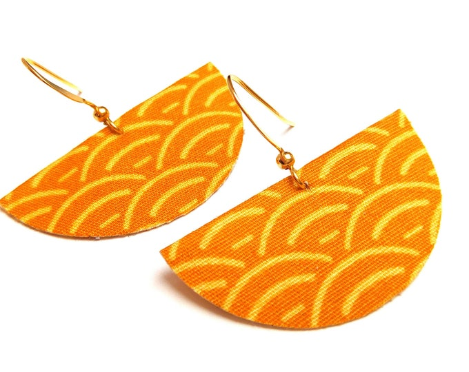 Japanese fabric earrings half moons curry and mustard