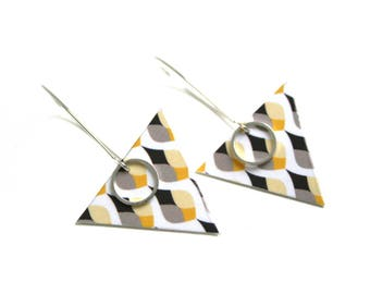 Triangular drops double sided earrings