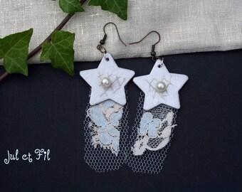 DESTOCKAGE NEUF Boucles d'oreilles rétro étoiles dentelle bleue beige