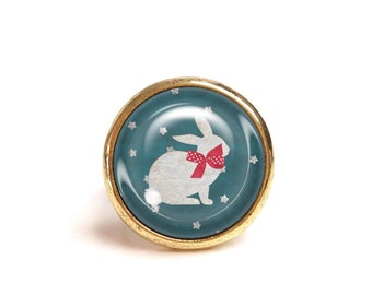JUL and FIL ring rabbit red knot with star polka dots